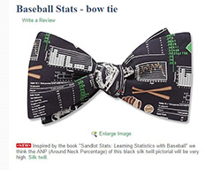 Baseball Statistics bowtie from Beau Ties LTD of VT which is based on graphs from the book Sandlot Stats:  Learning Statistics with Baseball